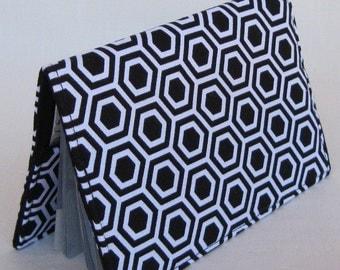 Passport Cover Travel Holiday Cruise Fabric Case - Black White Geometric Hexagon