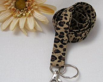 Badge LANYARD ID Key Holder - Leopard Cheetah Animal Print