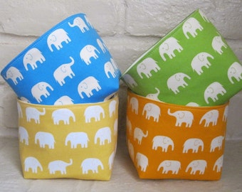 Desk Storage and Organization - Mini Fabric Organizer Bins - Set of 4 - Cream Elephants on Yellow - Green - Orange - Blue