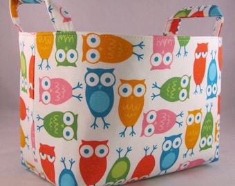 Fabric Organizer Storage Container Bin Basket - Urban Zoologie -  Owls White