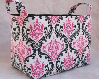 Fabric Organizer Storage Container Bin Basket - Dark Pink / Black/  White Damask