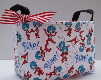 Fabric Storage Container Organizer Bin Basket - Made with Licensed Dr. Seuss - Thing 1 Thing 2 - Cat in the Hat Fabric Fabric