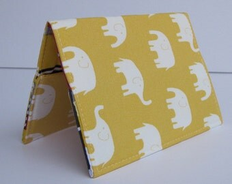 Passport Holder  Cover Case - Cream Elephants on Lemon Yellow