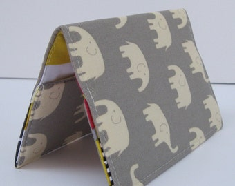 Passport Holder Cover Case - Cream Elephants on Gray