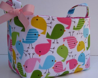 READY TO SHIP - Fabric Storage Organizer Container Basket Bin  - Birds in Spring Fabric - Baby Room Decor - Nursery Decor - Baby Shower Gift