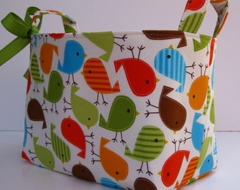 Fabric Storage Container Organizer Organizer Organization Basket Bin - Birds in Bermuda