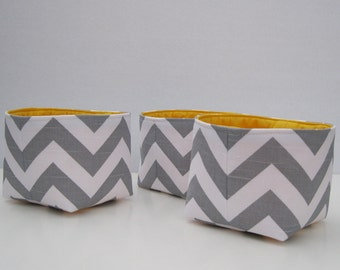 Storage Organization - Mini Fabric Container Organizer Bins - Set of 3 - Gray and White Chevron