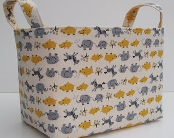 Storage Basket Organizer Container Basket Bin - Kawaii Animals - Gray and Yellow