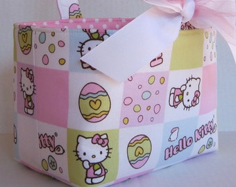 Easter Fabric Candy Basket Bin Storage Container - Made with Hello Kitty fabric - PERSONALIZED/ Name Tag Available