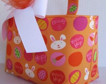 Easter Fabric Basket Bin Bucket Egg Hunt Storage Container - Hippity Hop Bunny Dots