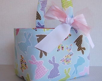 Easter Fabric Basket Bin Storage Container - Colorful Bunnies on Light Blue