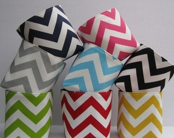 Mini Fabric Storage Container Organizer Bin Basket - Choose the Outside Chevron fabric and Inside/ Lining Fabric
