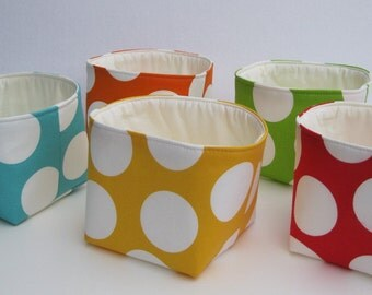 Mini Fabric Storage Container Organizer Bins - Set of 5 - Large White Dots