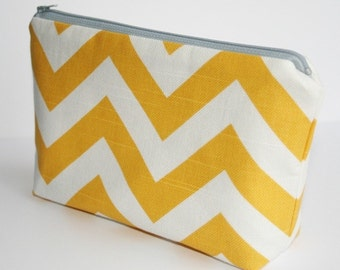 Fabric Zippered Pouch Clutch Bag - Corn Yellow and White Slub Chevron