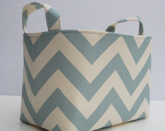 Fabric Organizer Storage Bin Container Basket - Village Blue/ Natural Chevron