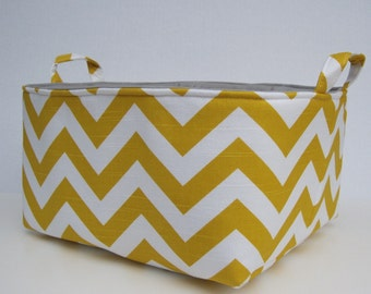 XLarge Diaper Caddy - Storage Container Organizer Bin Basket  - Corn Yellow and White Chevron - Gray Lining