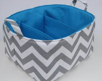READY TO SHIP - Gray/Grey and White Chevron Fabric Diaper Caddy - Storage Container Organizer Bin Basket  - with Dividers