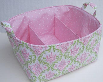 XLarge Diaper Caddy - Storage Container Organizer Bin Basket - With Dividers/ Separators - Pink Green Damask Fabric
