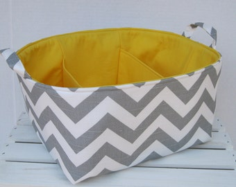 Diaper Caddy - Storage Container Organizer Bin Basket with Dividers Divider - Ash Gray / White Slub Chevron Fabric