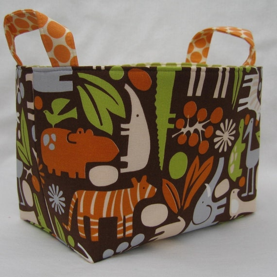 Fabric Organizer Container Storage Bin Basket - Chocolate 2D Zoo