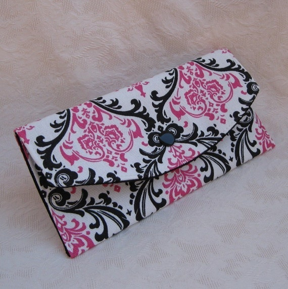 Fabric Clutch Wallet - Dark Pink and Black on White Damask