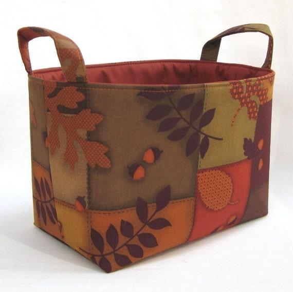 READY TO SHIP - Fabric Organizer Storage Container Basket Bin - Autumn - Fall  Oak Leaves Acorns