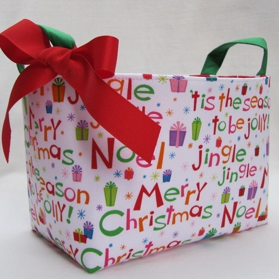 Fabric Organizer Bin Storage Container Basket - Merry Christmas - Tis the Season - Jingle Bells