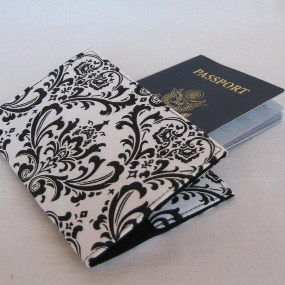 Passport Cover - Black and  White Damask