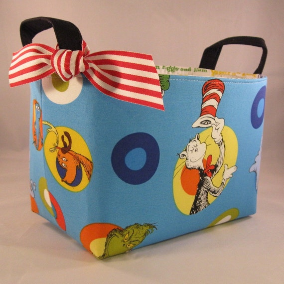 Dr. Seuss - Reversible Fabric Organizer Bin Basket - Cat in the Hat - Character Cameos Turquoise