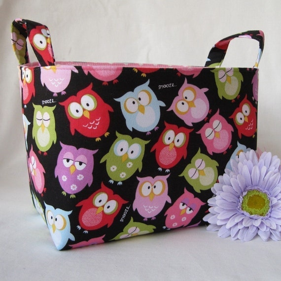 Storage and Organization - Fabric Organizer Container Bin Basket - Fun Owls - snooze- awake
