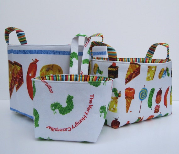 Fabric  Storage Container Organizer Bins - Very Hungry Caterpillar and Treats - Set of Three Nesting