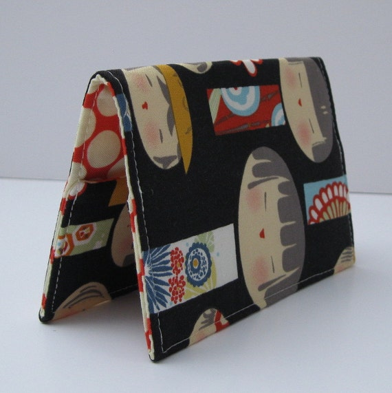 Passport Cover Travel Holiday Cruise Case - Black Yui Kokeshi