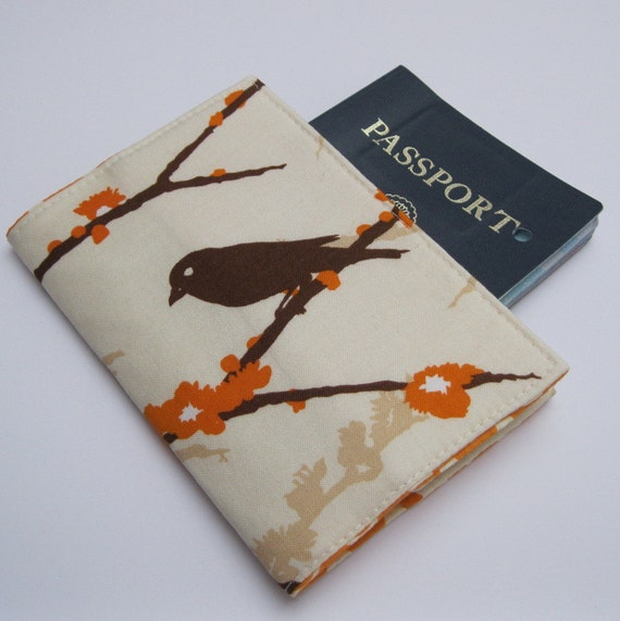 Passport  Fabric Case Cover - Almond Sparrow - Aviary