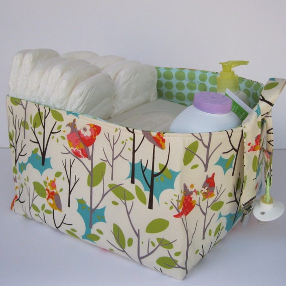 Fabric Organizer Storage Bin Basket - Diaper Caddy - with Dividers  - ITS A HOOT Owl - Custom Orders Welcome