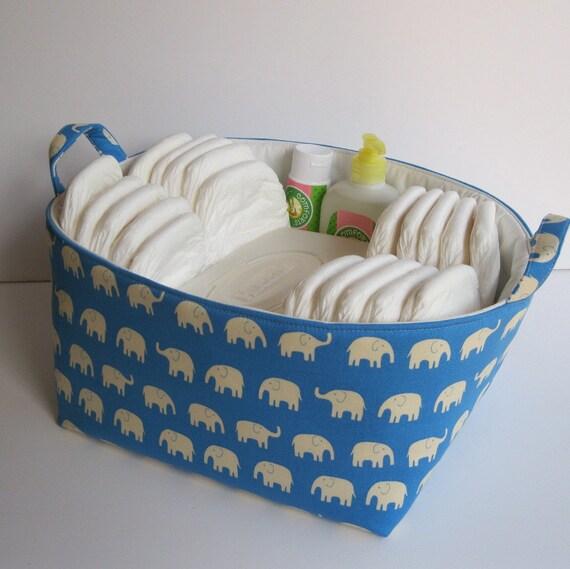 Madras Storage Baskets: Diaper Caddy Fabric Organizer Storage Bin Basket By BaffinBags
