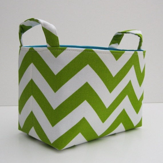 Fabric Organizer Storage Bin Container Basket - Lime Green and White Chevron - Choose the lining / inside color at checkout