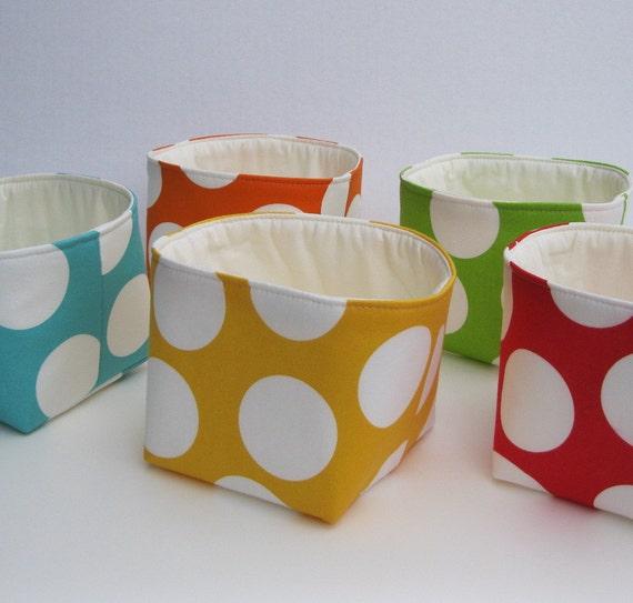 Mini Fabric Storage Container Organizer Bins - Set of 5 - Large White Dots