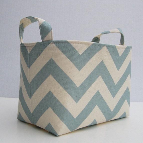 Fabric Organizer Storage Bin Container Basket - Village Blue/ Natural Chevron