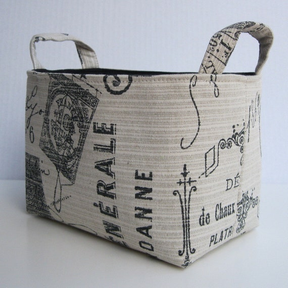 SAMPLE SALE - READY to Ship - Fabric Organizer Storage Bin Container Basket - Parisian  - France - Postmarks