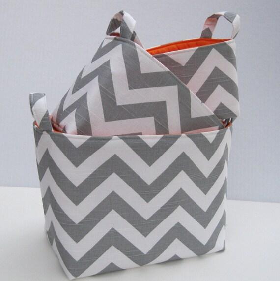 Fabric Organizer Storage Container Bins Baskets - Set of 3 - Nesting - Gray Slub Chevron Zig Zag
