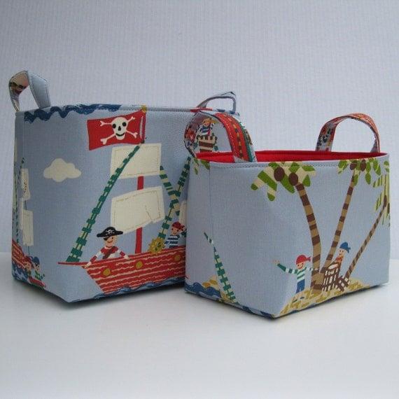 Storage and Organization - Fabric Organizer Container Bins  - Set of 2  Nesting - Pirates Treasure Island