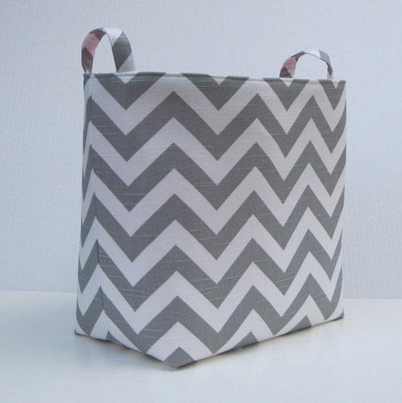 Storage and Organization - Fabric Organizer Container Bin Basket -  XLarge - Ash Gray and White Slub Chevron