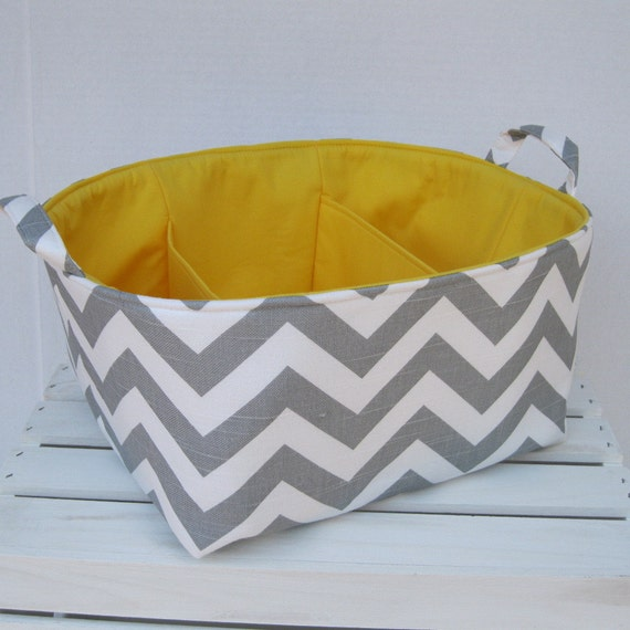 Diaper Caddy - Storage Container Organizer Bin Basket with Dividers Divider - Ash Gray / White Slub Chevron Fabric
