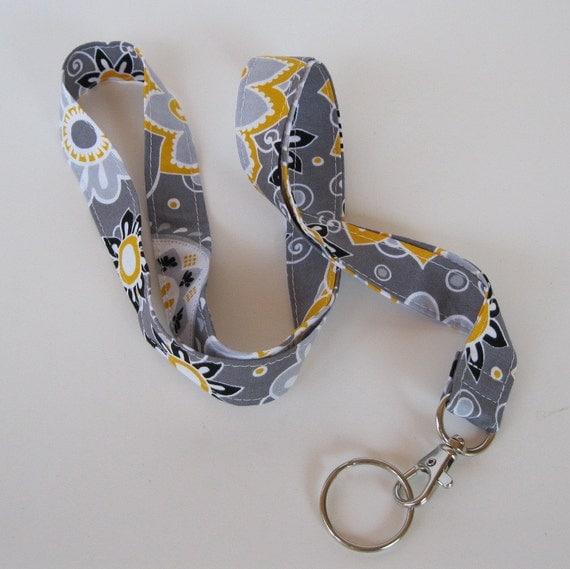LANYARD ID BADGE Key Holder - Gray/ White/ Yellow Flowers