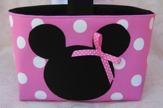 Halloween Trick or Treat Mini Tote Candy  Bucket.............. Mouse - Dark Pink\/White Polka Dots