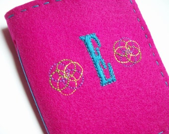 Pick your Monogram felt covered journal - handmade