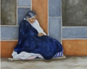 Mexican Street Seller Women Indian Oil Painting Oil on Canvas