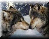 two wolves cross-stitch pattern 8x10
