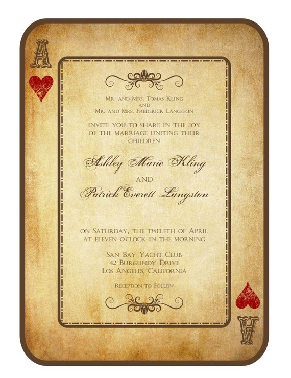 Items similar to Vintage Grunge Playing Card Wedding Invitation – Playing Card Invitation