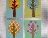 Fabric Tree Greeting Card Set